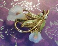 Vintage Brooch Pin Porcelain Flowers *1928* Designer Signed Fashion Gift for Her