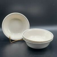 "Set of 4 Corelle English Breakfast 6 1/4"" Cereal Soup Bowls Blue & Pink Stripes"