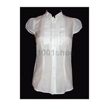 new RRP $70 JACQUI E SILK COTTON SHIRT TOP WHITE 16 last