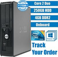 DELL CORE 2 DUO COMPUTER DESKTOP TOWER WINDOWS 10 4GB 250GB HDD GAMING PC FAST
