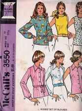 BLOUSE Patterns MISSES Ladies Sz 10 LONG Sleeve NO Sleeve COWL Collar