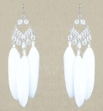 F2963 white Feather earrings silver rhombus tear bead cute dangle jewelry hot
