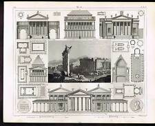 Temples of Jupiter & Mars Rome-Athens 1851 Heck-Winkles Antique Architecture
