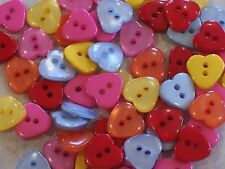 50 x Bright Heart Buttons - Great for Wedding Stationery 12 x 11mm FREE P&P