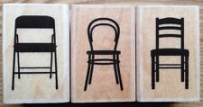 Lot of 3 Chair Wood Mounted Rubber Stamps