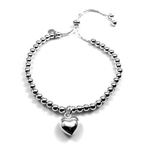 HEART Charm Ball Bracelet in 925 Sterling Silver Adjustable 6-8 Inches  3.5 mm