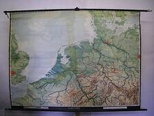 Schulwandkarte Wandkarte alte Karte Amsterdam Berlin London Nordsee 1956 215x158