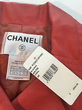 NWT $5565 Auth CHANEL '04P Coral Leather Double Lapel Moto Jacket Coat 38