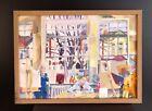 Vtg ARTISTS IN AN ART STUDIO sml oil painting MCM cubist modernist British board