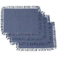NEW Blue Homespun Check Woven Cotton Placemats Set of 4 Blue Homespun Placemats