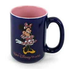 Vintage WALT DISNEY WORLD Minnie Mouse Coffee Mug Purple & Blue Souvenir
