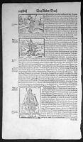 1598 Sebastian Munster Antique Print Engravings to Text of 5 x Roman Emperors