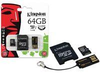Kingston micro SD SDHC Memory Card 64GB Classe 10 UHS-I con adattatore e lettore