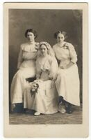 113020 VINTAGE RPPC REAL PHOTO POSTCARD BRIDE AND HER ATTENDANTS