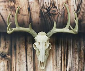 Rustic Hunter Rack Deer Skull Antler Wall Plaque Decor 10 Point Buck Figurine