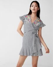 EXPRESS FLORAL EMBROIDERED BLACK & WHITE STRIPED RUFFLE FIT AND FLARE DRESS 8