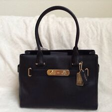 NWT. Coach Pebble Leather Swagger Carryall Handbag Satchel Bag Black F36488