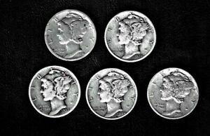 1928 thru 1942 Winged Mercury Head .900 silver dime lot 5 coins F. thru E.F.