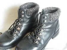 Womans Black Rampage Ankle Boots Lace up, Knit Cuffs, size 6.5