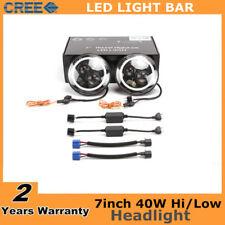 2X 7inch 40W Round CREE LED Halo Angel Eyes Headlight For Jeep Wrangler JK TJ