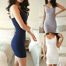 New Women Cotton Stretch Bodycon Sleeveless Racer Back Long Vest Mini Dress Tops