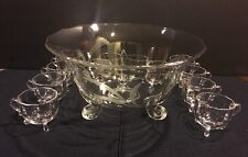 REDUCE Princess Viking New Martinsville 5200 Punch Bowl Punch Cups Crystal Glass