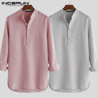 Men's Loose Grandad Long Shirt Kurta Long Sleeve Shirts Party Formal Blouse Tops