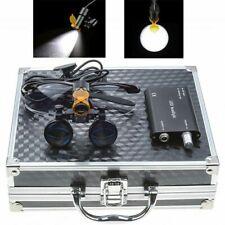 Dental 35x Binocular Loupes 5w Led Head Light With Filter Aluminum Box Black