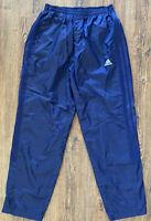 Men's Size L Adidas Navy Blue Windbreaker Lined Athletic Pants Ankle Zipper