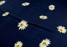 PRINTED VISCOSE FABRIC – LARGE DAISY DESIGN - NAVY BLUE