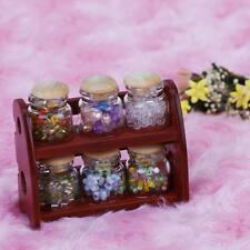 1:12 Holz Rahmen und Gewürz Spice Flasche Pot Rack-Puppenhaus Küche