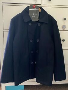 Mens - US Navy Style - Pea Coat Jacket - Double breasted - Black Wool with tags