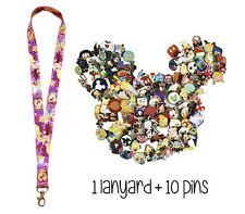 Disney Pins (10) + Rapunzel Tangled Lanyard + Pin Trading Guide - New!