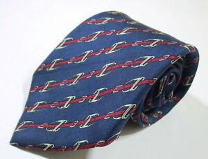 Hermes Paris 951 IA Striped Link Pattern Blue Color Silk Necktie Tie