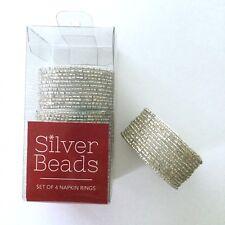 Silver Beaded Napkin Rings Set 4 Metallic Round Fancy Glam Holiday Christmas