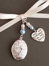 "Wedding Bouquet Charm Oval Silver Embossed Locket ""always in my heart"" charm"