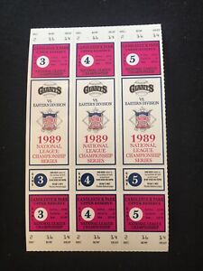 1989 NLCS Strip Unused Full Tickets SF San Francisco Giants Cubs World Series