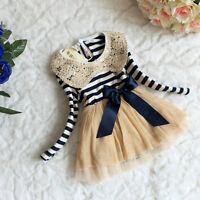 Popular Girls Toddler striped lace collar  veil dress Party dress SZ 1-4Y YF047