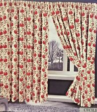 JACQUARD RED CREAM 90 X 90 READY MADE LINED PENCIL PLEAT CURTAINS CECILE LUXURY