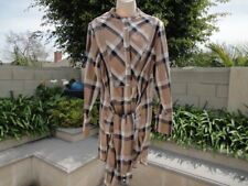 Derek Lam 10 Crosby Denim Mock Tie Waist Dress, Camel 100% Cotton Plaid, Sz L