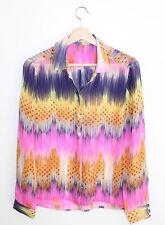Anthropologie Leifsdottir Multi-color Bright Geometric Print Silk Blouse 6
