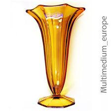 Art Deco bernstein farbene Press Glas Vase 30er Jahre