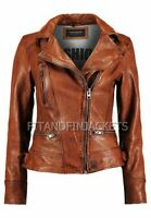 Womens Biker Moto Style Motorcycle Vintage Distressed Brown Real Leather Jacket