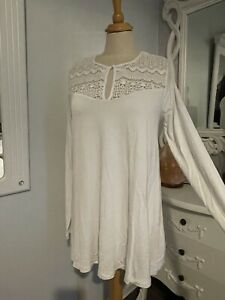 """LONG TALL SALLY White Stretch Crochet Tunic Top SMALL 36"""" Chest"""
