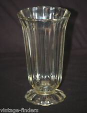 """Old Vintage Large Mouth Clear Glass Paneled Flower Vase 8"""" Tall Mantel Decor"""