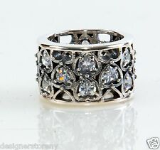 King Queen Baby Studio Sterling Silver Wide CZ Heart patterned ring size 8