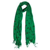 Green and Brown Polkadot Design Rectangle Women's Hijab Scarf with Tassles