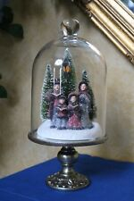 """13"""" DICKENS FAMILY CAROLERS in ILLUMINATED under GLASS Valerie Parr Hill QVC"""
