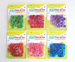 100 pions jetons loto bingo aimantés magnétiques marque Lotoquine