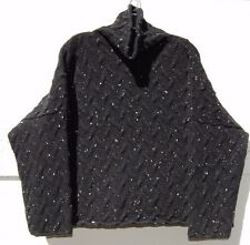 c6a88b3c7d2 NEW Eskandar BLACK NAVY Thick Cashmere Wool Textured Monk CowlNeck Sweater   2490